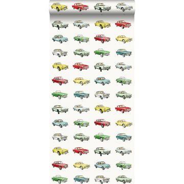 tapet vintage bilar rött, gul och grönt från ESTA home