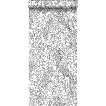tapet handmålade blad svart och vitt från ESTA home