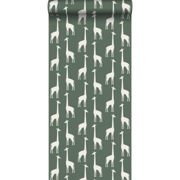 tapet giraffer mörkgrönt från ESTA home