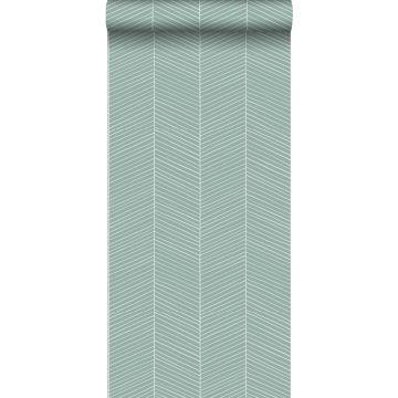 tapet fiskbensmönster gråaktigt mintgrönt från ESTA home