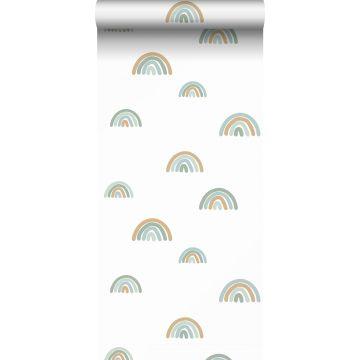 tapet regnbågar vintage gråblått, ljusblått och beige från ESTA home