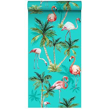 tapet XXL flamingos turkost, grönt och rosa från ESTA home