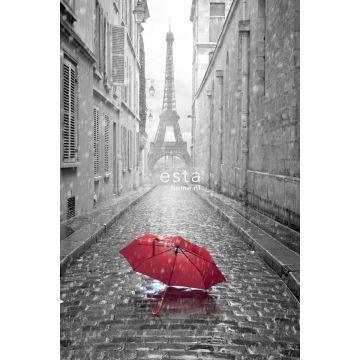 fototapet Paris svart-vitt-rött paraply grått och rött från ESTA home