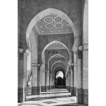 fototapet Marockansk Marrakech Riad-galleri svart och vitt från ESTA home