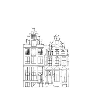 fototapet tecknade kanalhus i Amsterdam svart och vitt från ESTA home