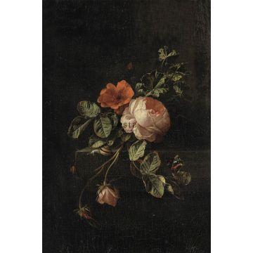 fototapet stilleben med blommor mörkrött och svart från ESTA home