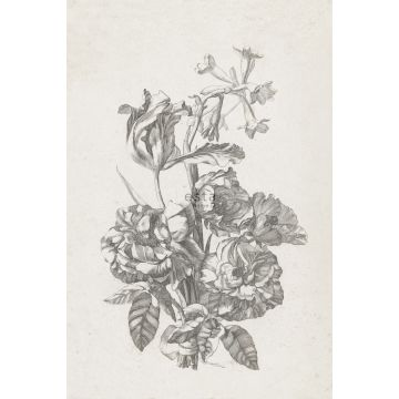 fototapet stilleben med blommor svart och vitt från ESTA home