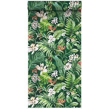 tapet XXL tropiska blad and blommor smaragdgrönt från ESTA home