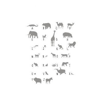fototapet djur-ABC grått från ESTA home