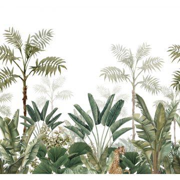 fototapet djungel vitt och gråaktigt olivgrönt från ESTA home