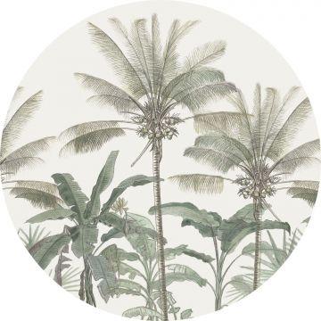 självhäftande rund tapet palmer ljusbeige och grågrönt från ESTA home