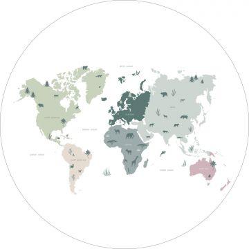 självhäftande rund tapet världskarta för barn mintgrönt, grått och rosa från ESTA home