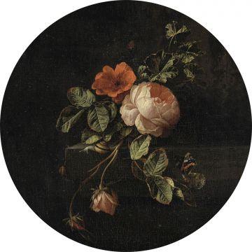 självhäftande rund tapet stilleben med blommor svart och grönt från ESTA home