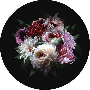 självhäftande rund tapet stilleben med blommor mångfärgat på svart från ESTA home