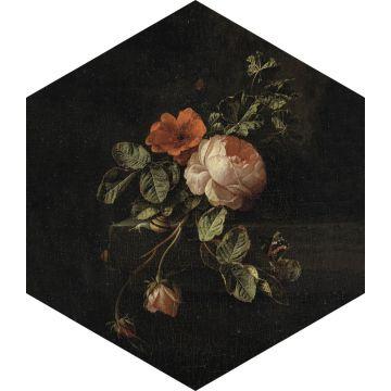 wallsticker stilleben med blommor svart, grönt och rosa från ESTA home
