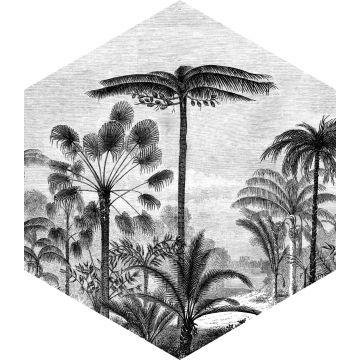 wallsticker tropiskt landskap med palmer svart och vitt från ESTA home