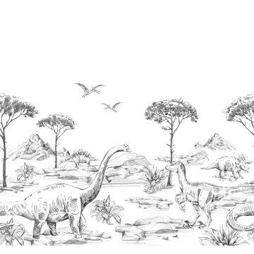 fototapet dinosaurier svart och vitt från ESTA home