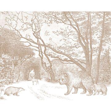 fototapet skog med skogsdjur terrakottaröd från ESTA home