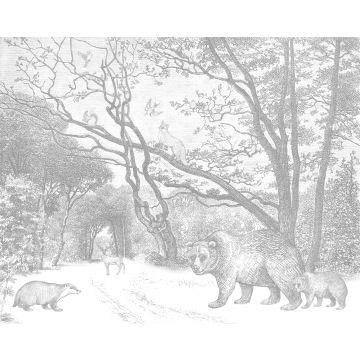 fototapet skog med skogsdjur grått från ESTA home