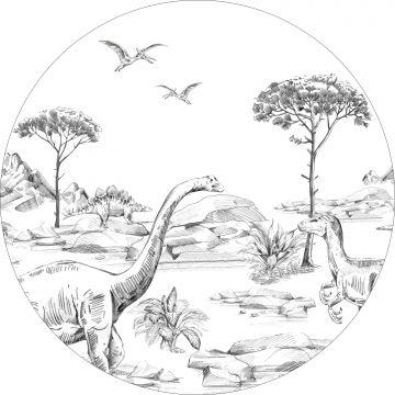 självhäftande rund tapet dinosaurier svart och vitt från ESTA home