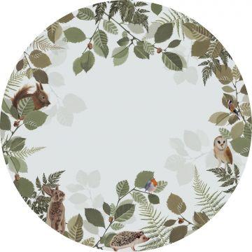 självhäftande rund tapet skogens djur grönt och brunt från ESTA home