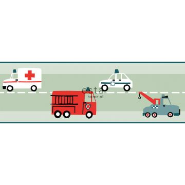 självhäftande tapetbård bilar, brandbilar, helikoptrar och lyftkranar mintgrönt från ESTA home