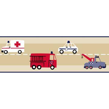 tapetbård brandbil och polisbil beige, rött och blått från ESTA home