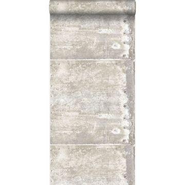 tapet stora slitna rostiga metallplåtar med nitar benfärgat från Origin