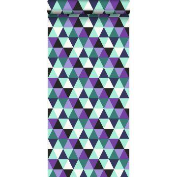 tapet grafiska trianglar lila och ljust azurblått från Origin