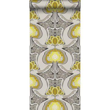 tapet Art Nouveau blommönster ockra och grått från Origin