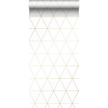 tapet grafiska trianglar vitt och guld från Origin