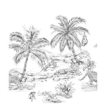 fototapet pennteckning safari svart och vitt från Origin