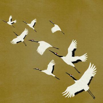 fototapet kranfåglar ockra från Origin