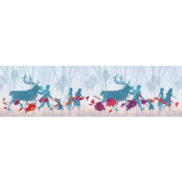 självhäftande tapetbård Frost ljusblått, lila och rött från Sanders & Sanders