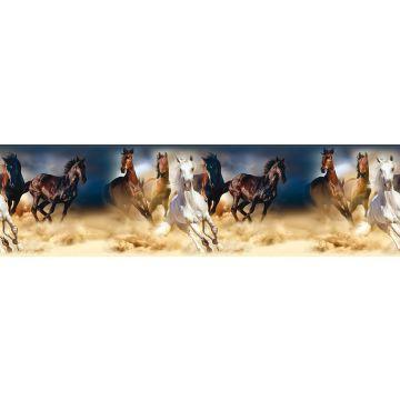 självhäftande tapetbård hästar mörkblått, brunt och beige från Sanders & Sanders